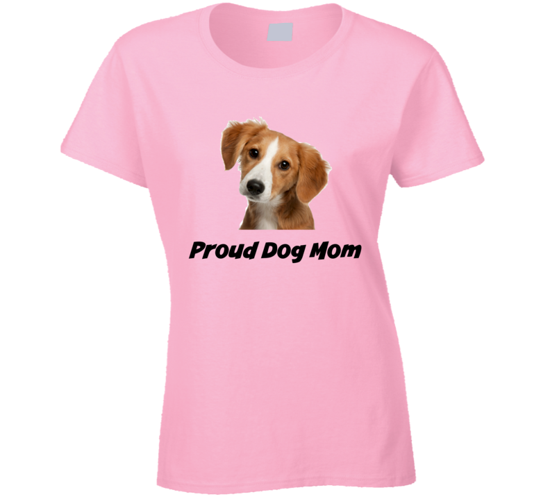 Proud Dog Mom Novelty Pet T-Shirt Lady's Fitted Puppy Tee