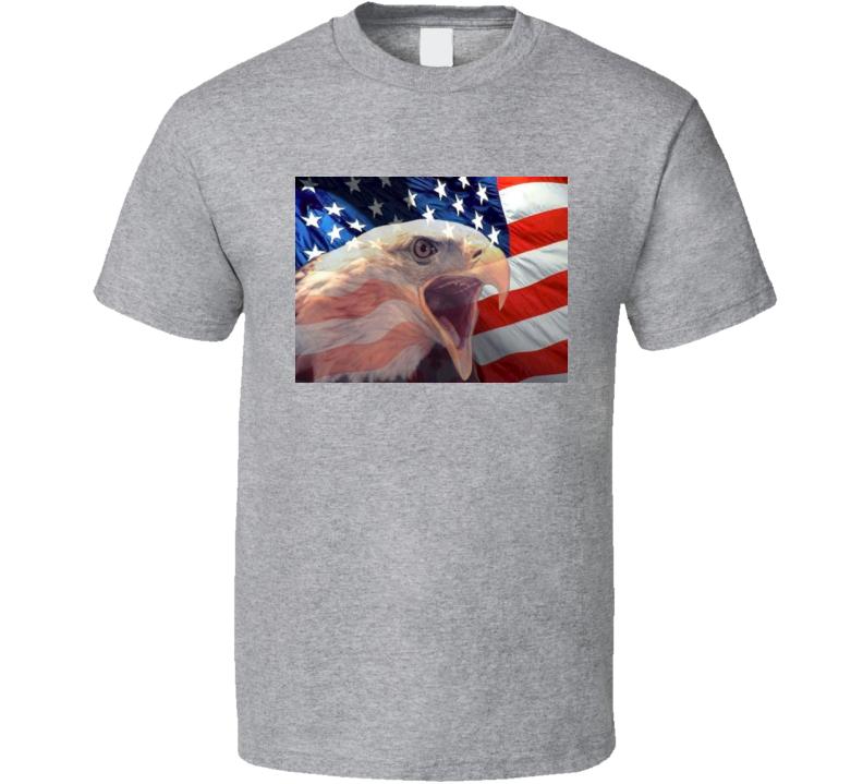 American Eagle Patriotic T-Shirt USA Flag Novelty Unisex Tee