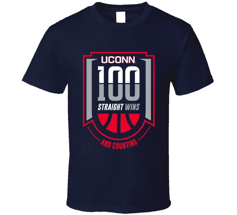 Huskies Women's Basketball UCONN 100 Wins Straight T Shirt