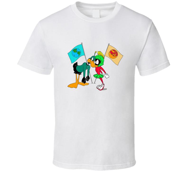 Duck Dodgers Marvin Martian Retro Cartoon Character Worn Look Gift T Shirt