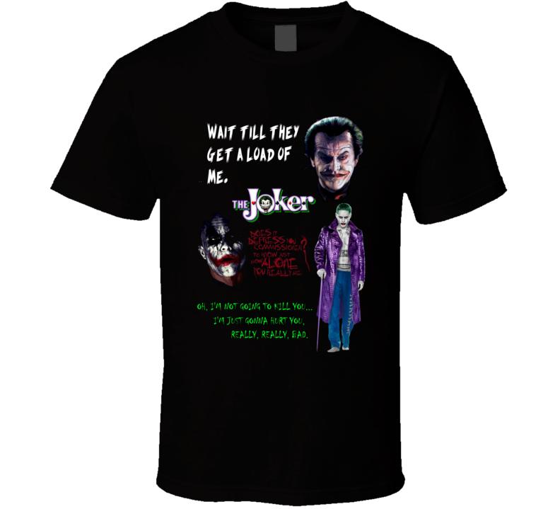 The Joker Jack Nicholson Heath Ledger Jared Leto Comic Movie T shirt