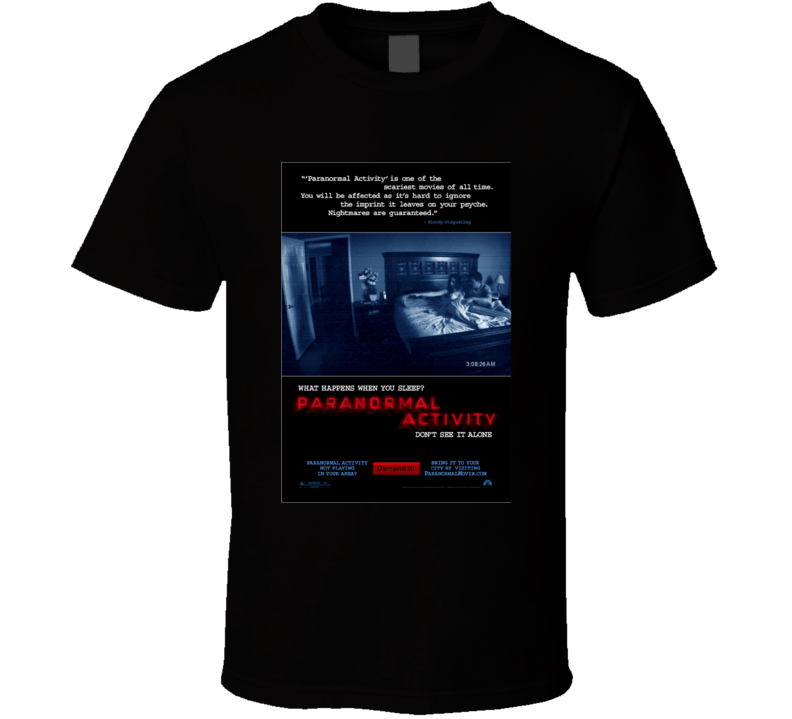 Paranormal Activity Cool Horror Cult Classic Movie Poster Fan T Shirt