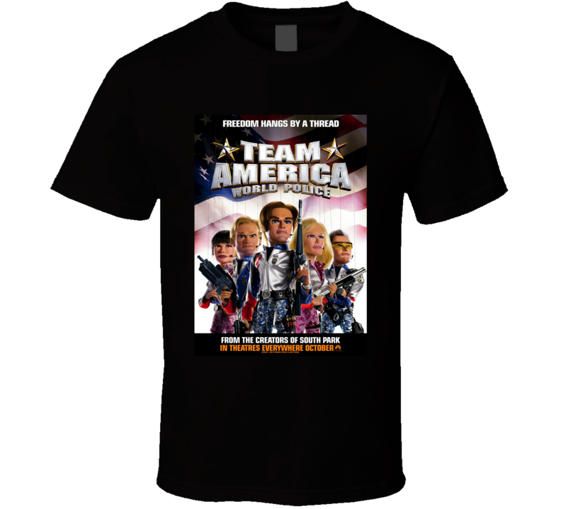 Team America World Police Cool 21st Century Comedy Classic Movie Poster Fan T Shirt