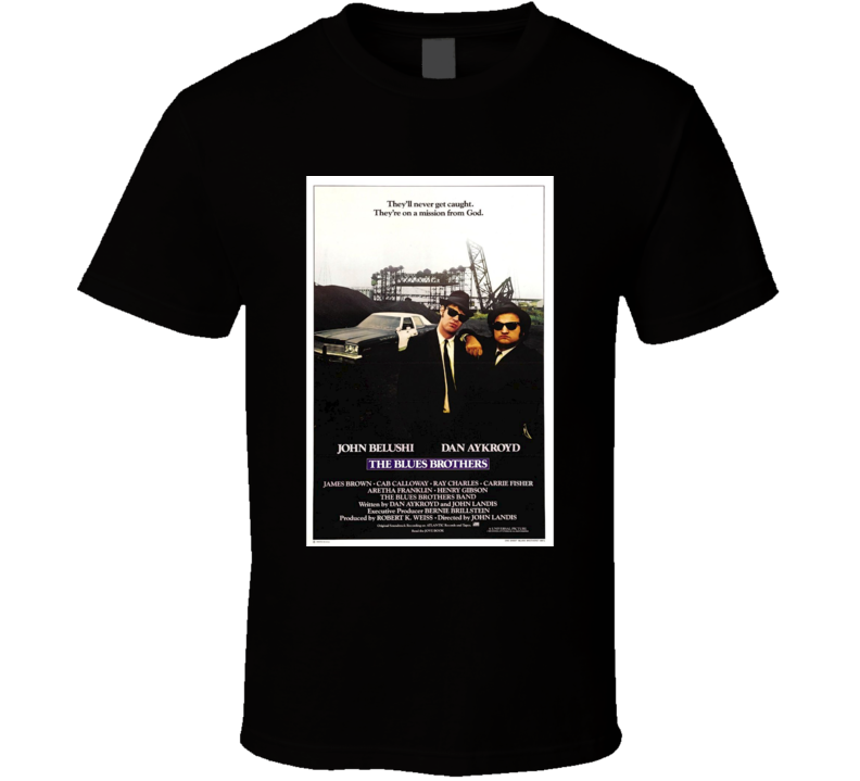 The Blues Brothers Cool 80's Vintage Classic Action Movie Poster Fan T Shirt
