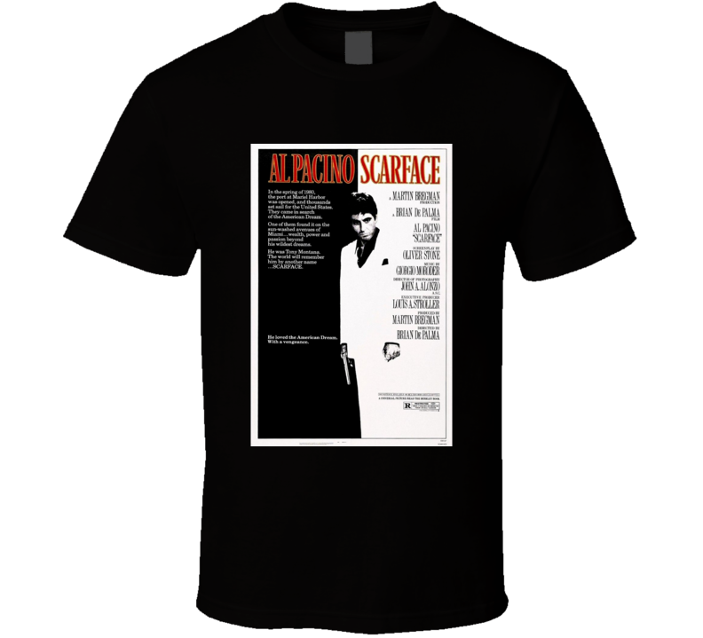 Scarface Cool 80's Vintage Classic Action Movie Poster Fan T Shirt