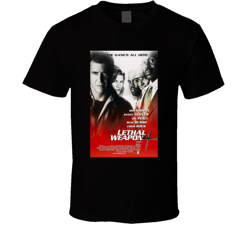 Lethal Weapon 4 Cool 90's Vintage Classic Action Movie Poster Fan T Shirt
