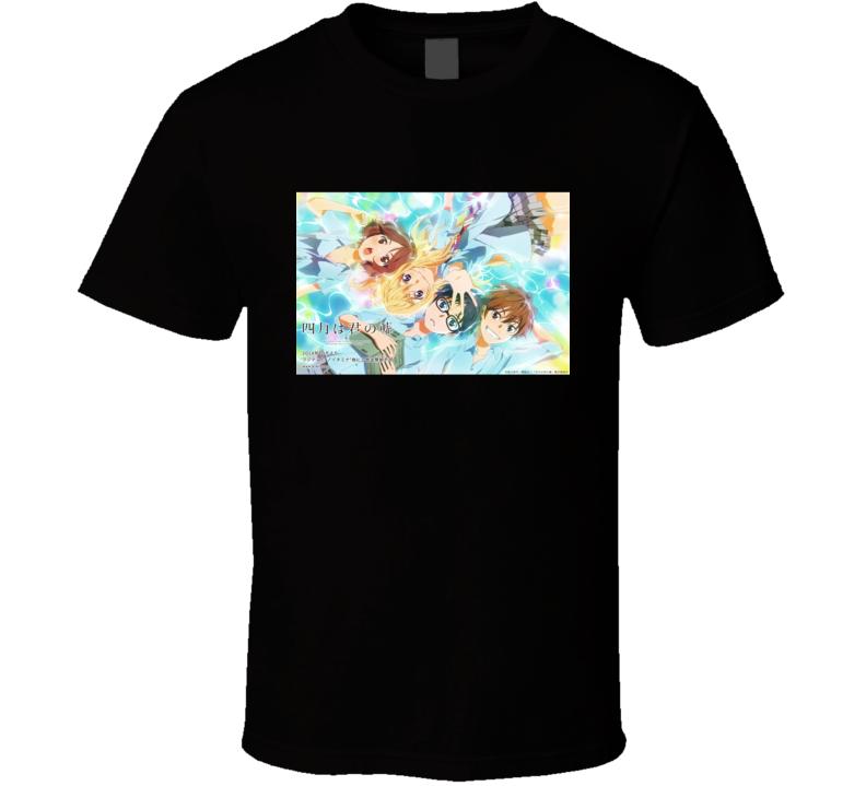 Shigatsu Wa Kimi No Uso Anime Tv Show Poster Cool Fan T Shirt