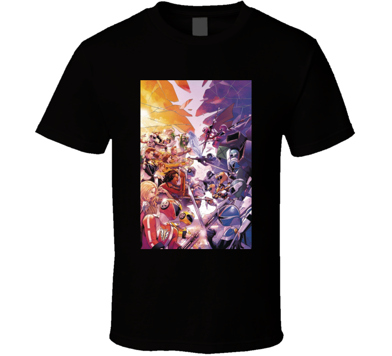 Mighty Morphin Power Rangers Rangers Shattered Grid Face-off Comic Book T Shirt