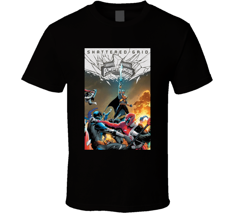 Mighty Morphin Power Rangers Shattered Grid Comic Book T Shirt
