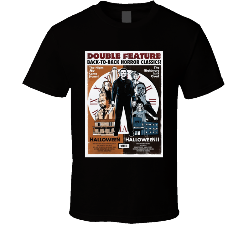 Halloween Part 1 And 2 Double Feature Cult Horror Movie T Shirt