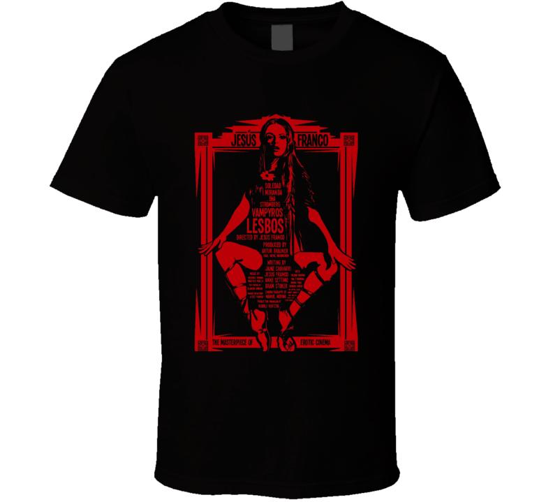 Vampyros Lesbos 70s Cult Horror Brand New Classic Black T Shirt