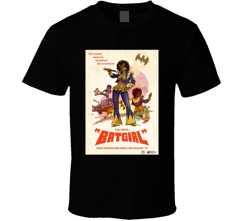 Pam Grier As Batgirl Blaxploitation Parody Brand New Classic Black T Shirt