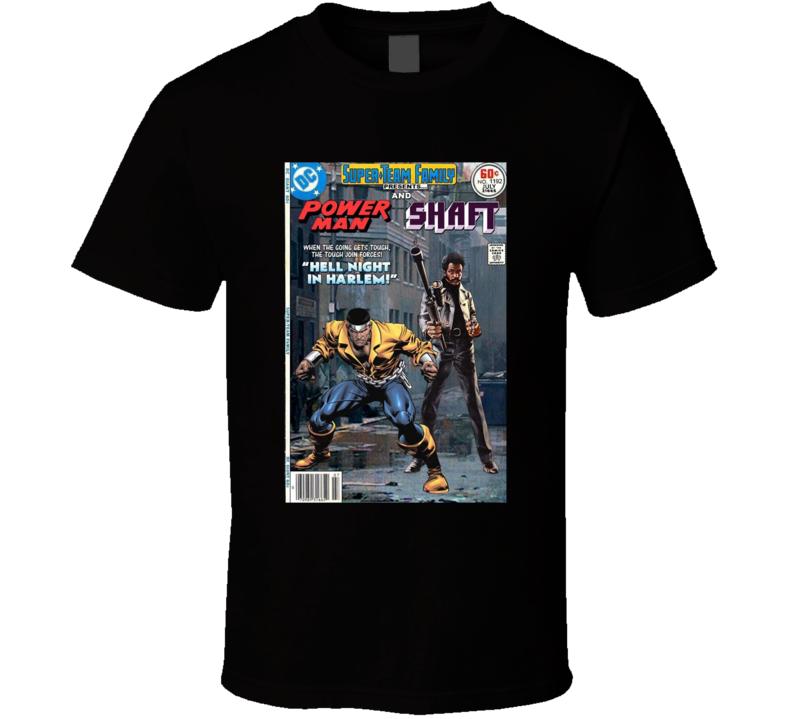 Superhero Team-up Shaft And Power Man Brand New Classic Black T Shirt