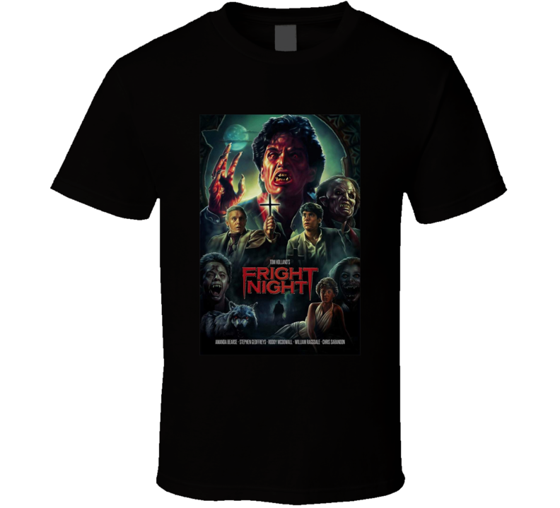 Fright Night 1985 Brand New Classic Horror Movie Black T Shirt