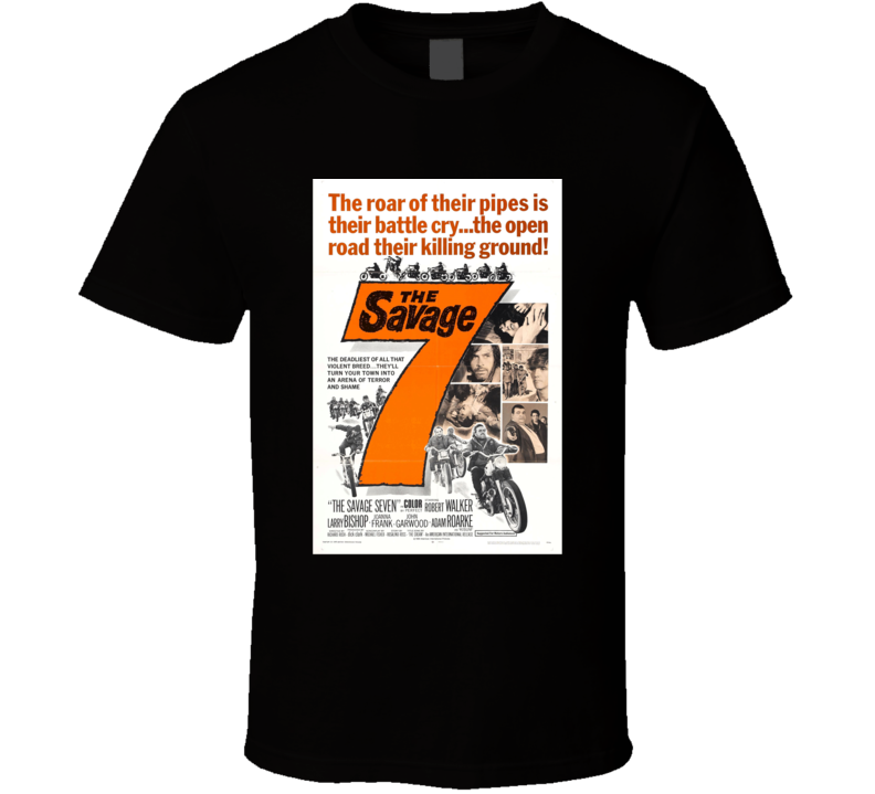 The Savage 7 Classic Action Movie Brand New Black T Shirt