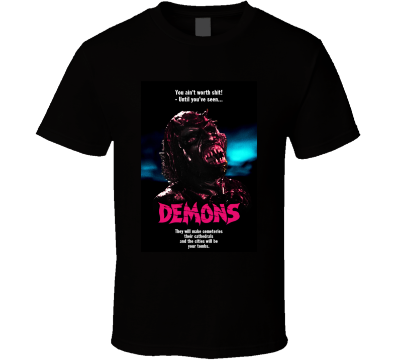 Demons Classic Horror Movie Brand New Black T Shirt