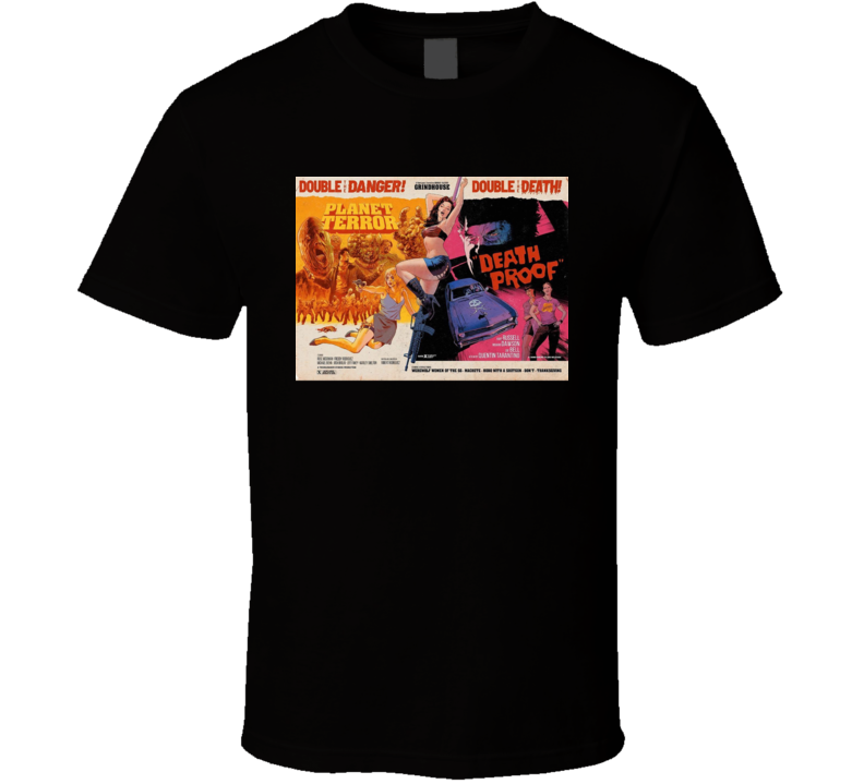 Grindhouse Double Feature Horror Movie Brand New Classic Black T Shirt