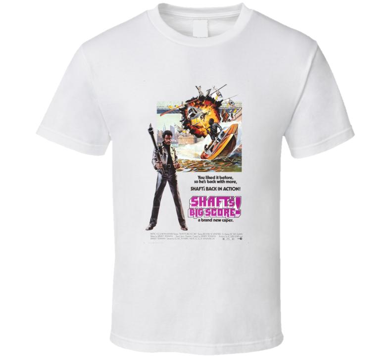 Shaft's Big Score Action Movie Classic Brand New Black T Shirt