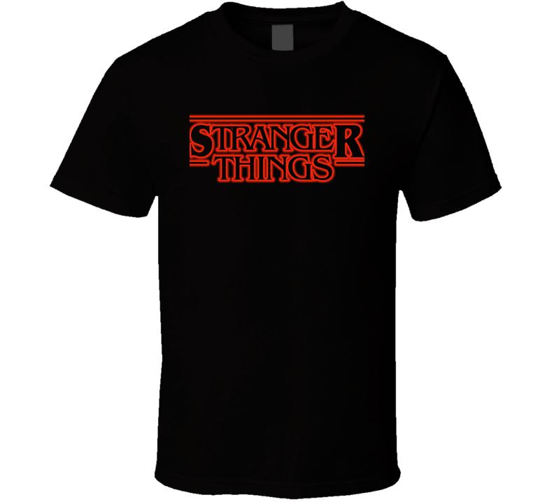 Stranger Things logo T Shirt netflix hobbs monsters retro black tee