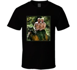 Cool Funny Donald Trump and Putin Best Friends Riding Horse  T Shirt