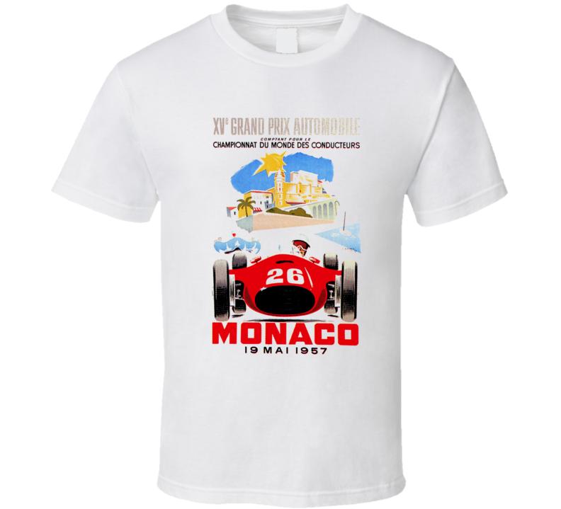 Cool Monaco Grand Prix 1957 Race Poster Car Racing  T Shirt