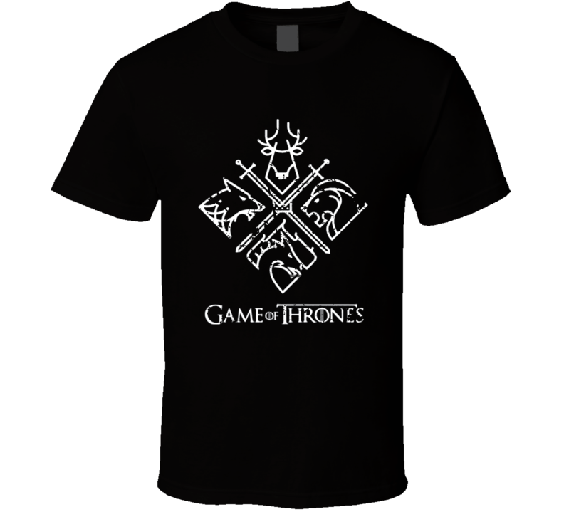 Cool Game Of Thrones 4 House Sigils Tv Show Distressed T Shirt
