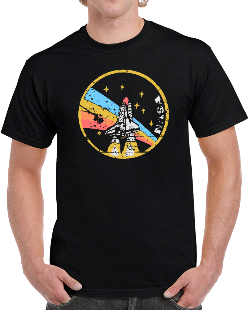 Cool Space NASA Rainbow Distressed  T Shirt