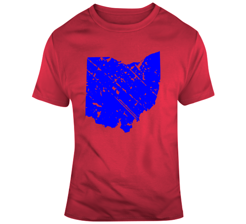 State of Ohio Silhouette Distressed  T Shirt