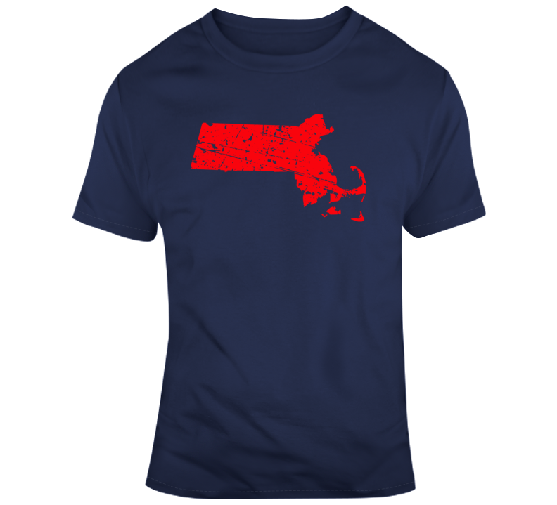State of Massachusetts Flag Distressed T Shirt
