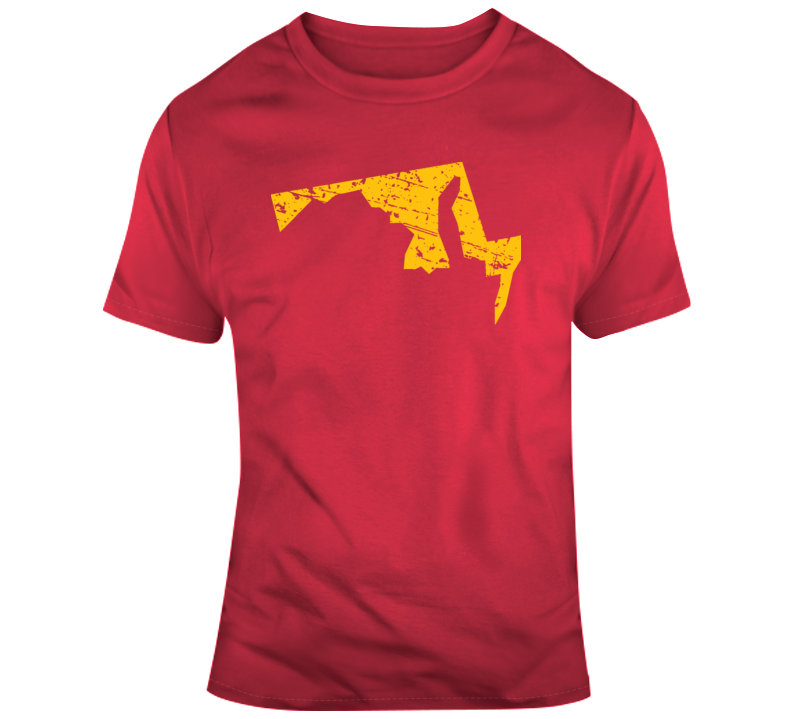 State of Maryland State Silhouette  Distressed  T Shirt
