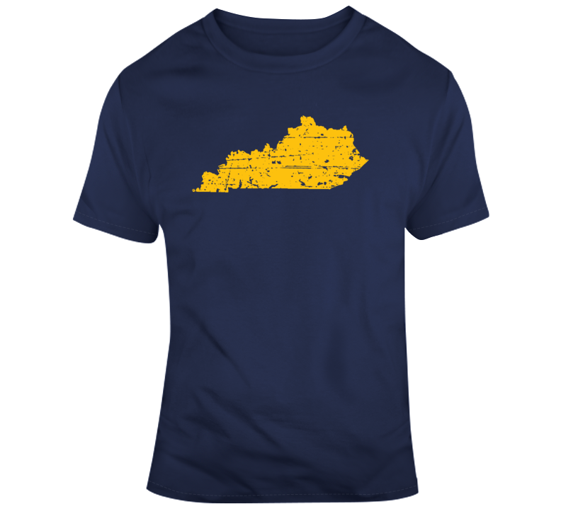 State of Kentucky State Silhouette  Distressed T Shirt