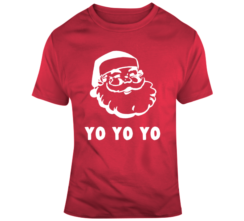 Funny Christmas Shirt First Things First Santa yo yo yo