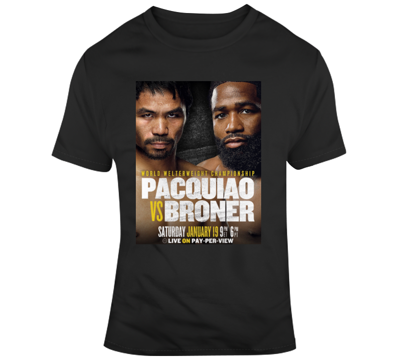 Manny Pacquiao vs Adrien Broner Jan 19 Boxing Fan fight poster  T Shirt