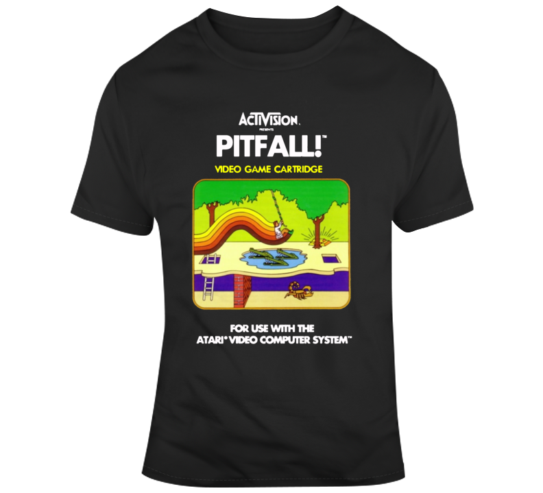 Retro Pitfall Video Game Atari Box Oox Cover Art  T Shirt