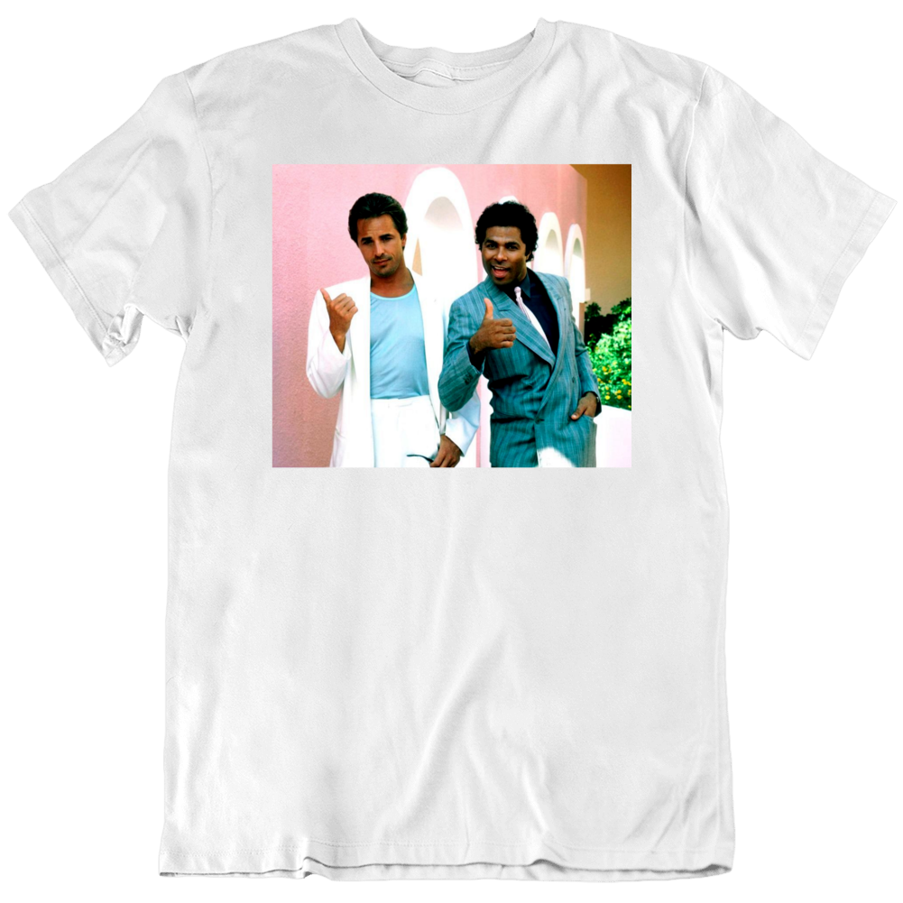 Retro 80's TV Show Miami Vice Crocket and Tubbs Thumbs up Cool Fan T Shirt