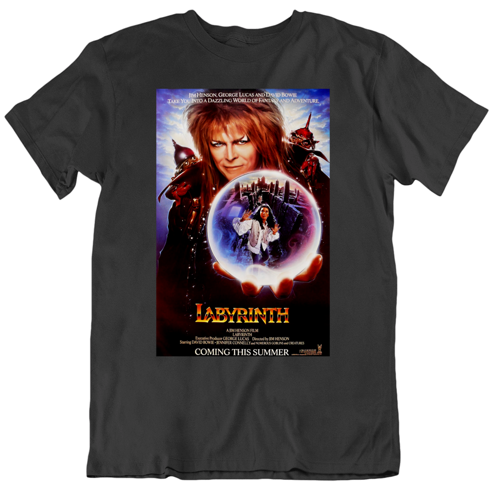 Retro 80's Movie  Labyrinth Movie Poster Cool Fan T Shirt