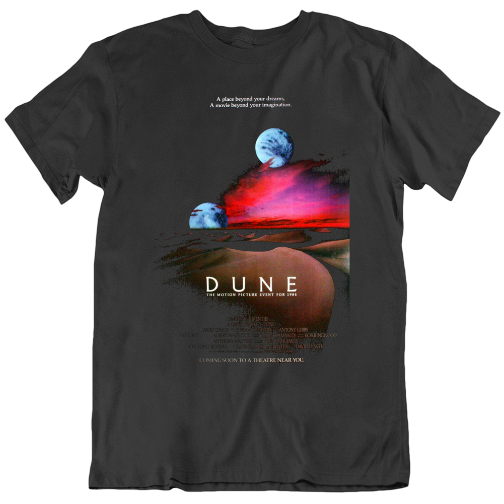 Retro 80's Sci Movie Dune 1984 Movie Poster Cool Fan  T Shirt