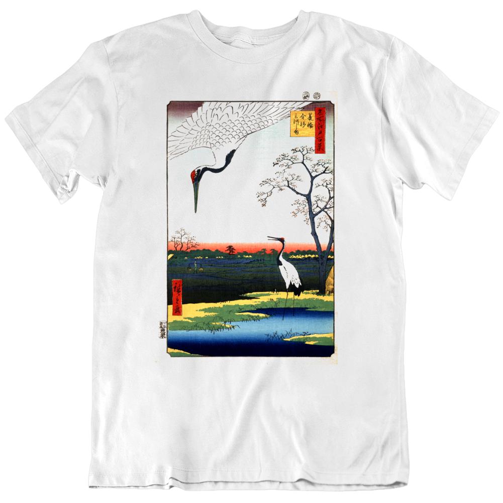 Japanese Birds Cranes Minowa Kanasugi Mikawashima T Shirt