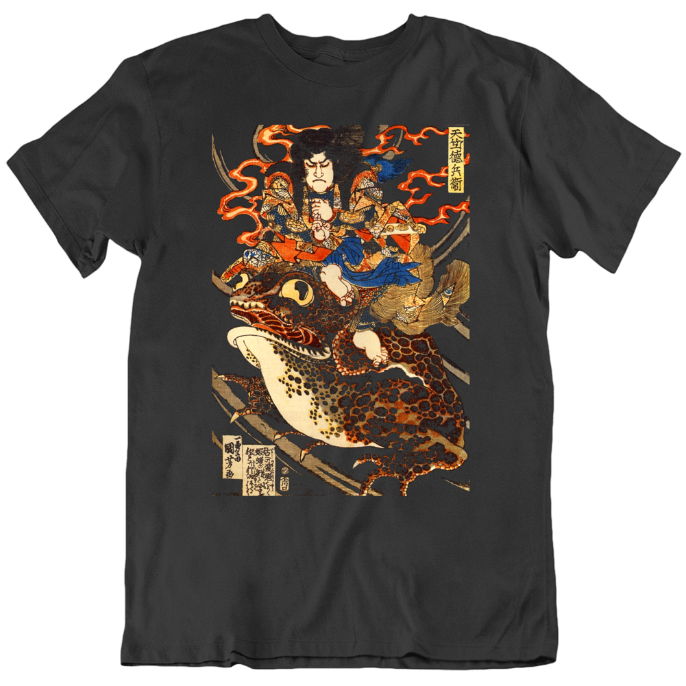 Riding Waves On Back of A Giant Toad Japanese  Retro Art Poster  T Shirt