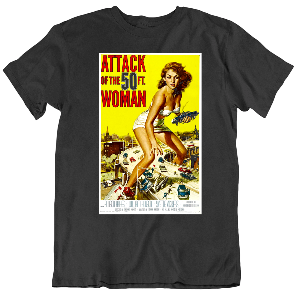 Attack of the 50 Foot Woman 1957 Retro Movie Poster Black T Shirt
