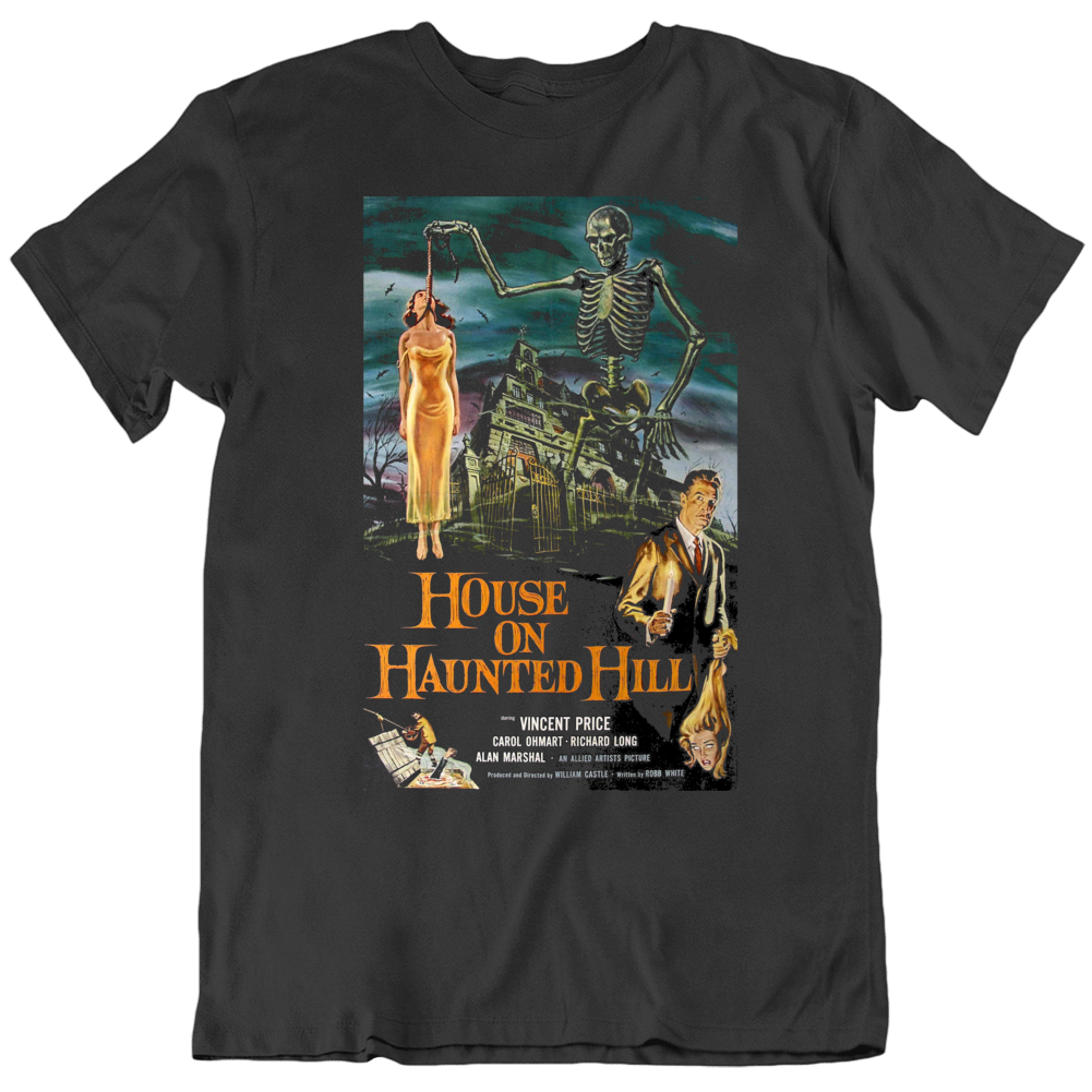 Vincent Price Retro House on Haunted Hill Movie Poster T Shirt