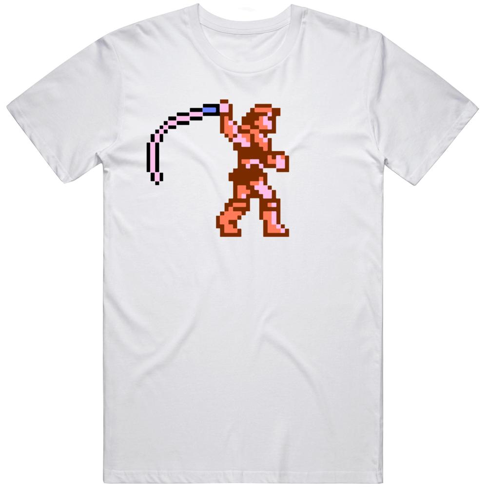 Castlevania 8 Bit Character Simon Belmont Whip Video Game Fan T Shirt