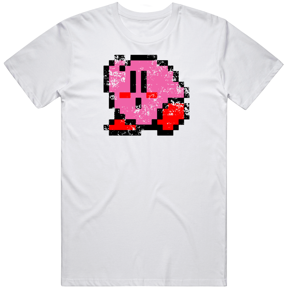 Kirby 8 Bit Character Retro Video Game Fan Distressed T Shirt