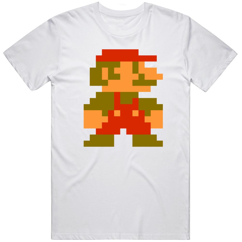 Super Mario Bros 8 Bit Character Retro Video Game Fan  T Shirt