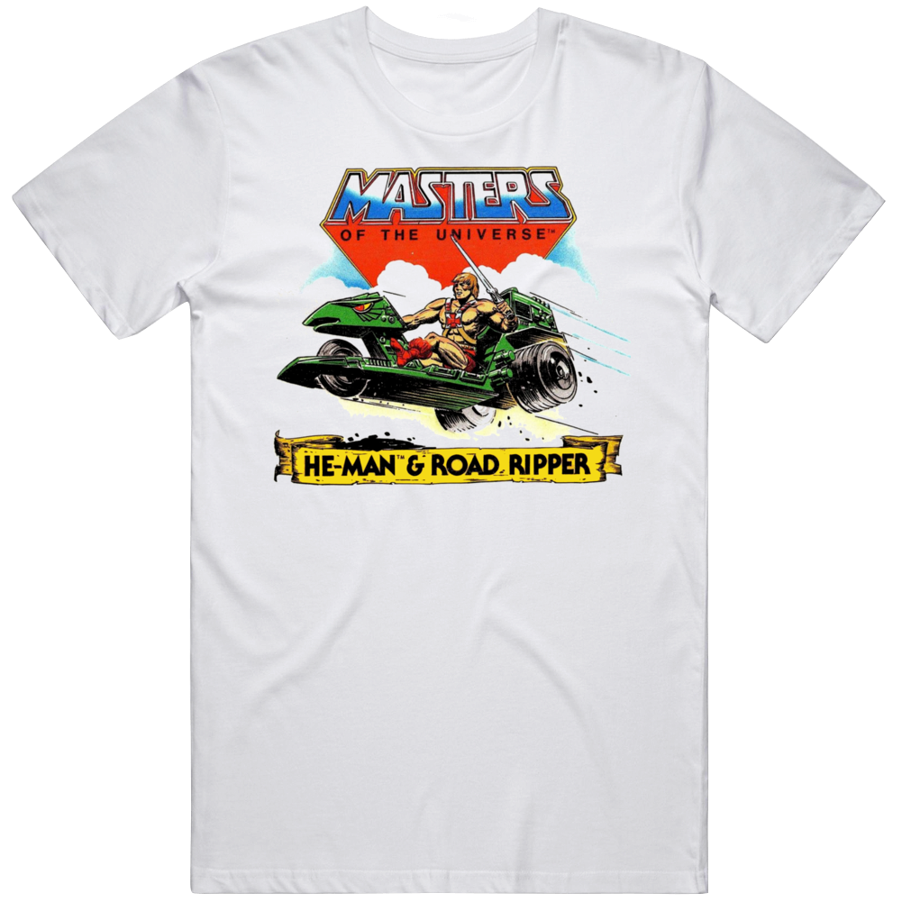 Masters of The Universe He Man and Road Ripper Retro Cartoon T Shirt
