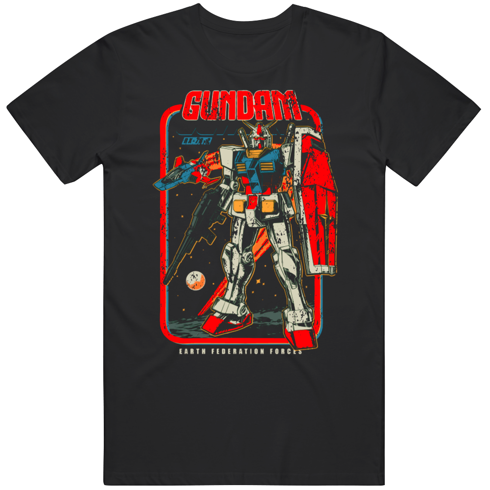 Retro Gundam Anime Manga Fan Distressed T Shirt
