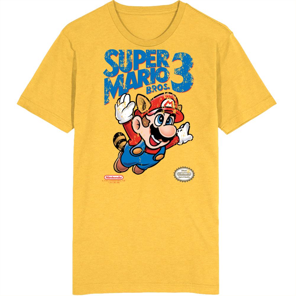 Super Mario 3 Cover Art Retro Video Game Fan Distressed T Shirt