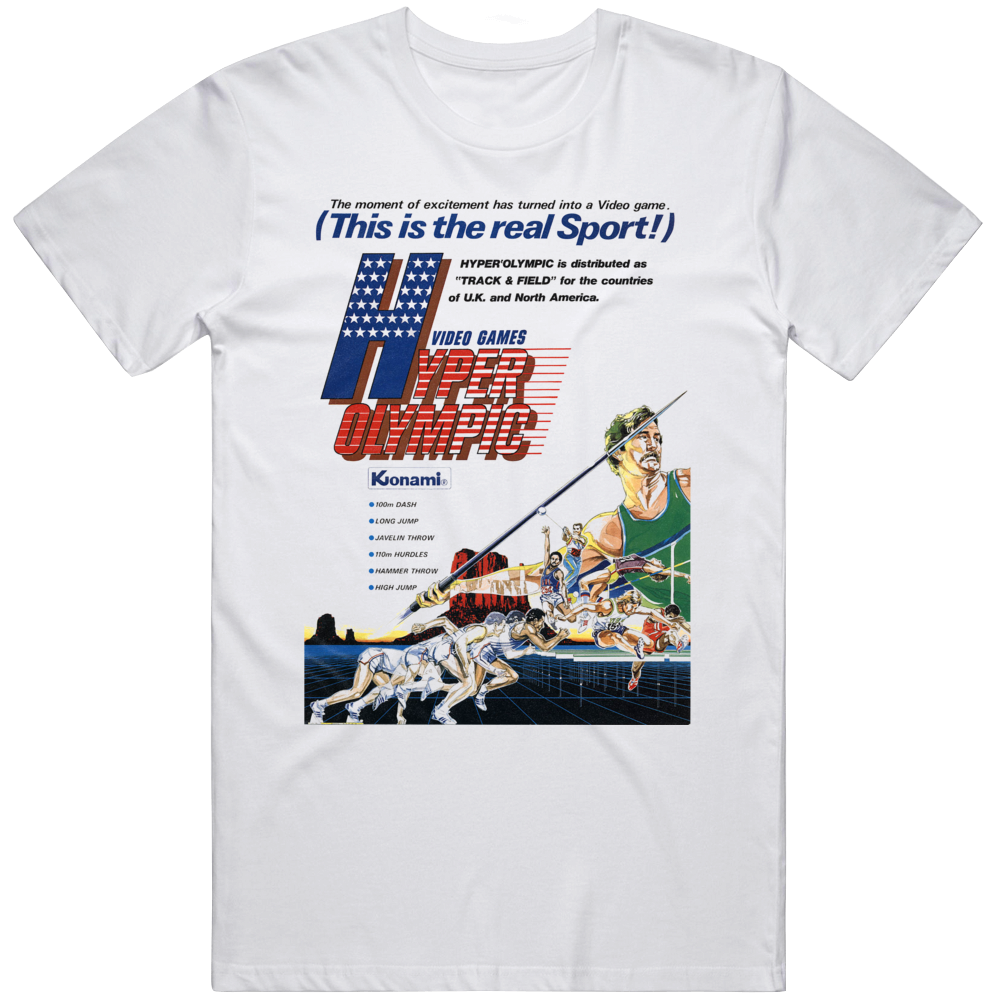 Retro Classic Video Game Track and Field Hyper Olympics Cover Art  T Shirt