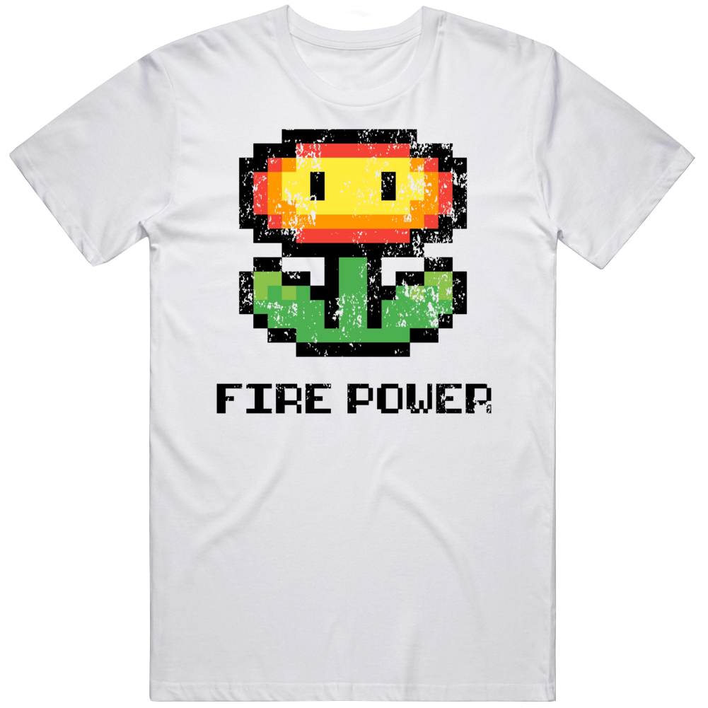 Retro Super Mario Flower Power Fire Power Distressed Video Game Fan T Shirt