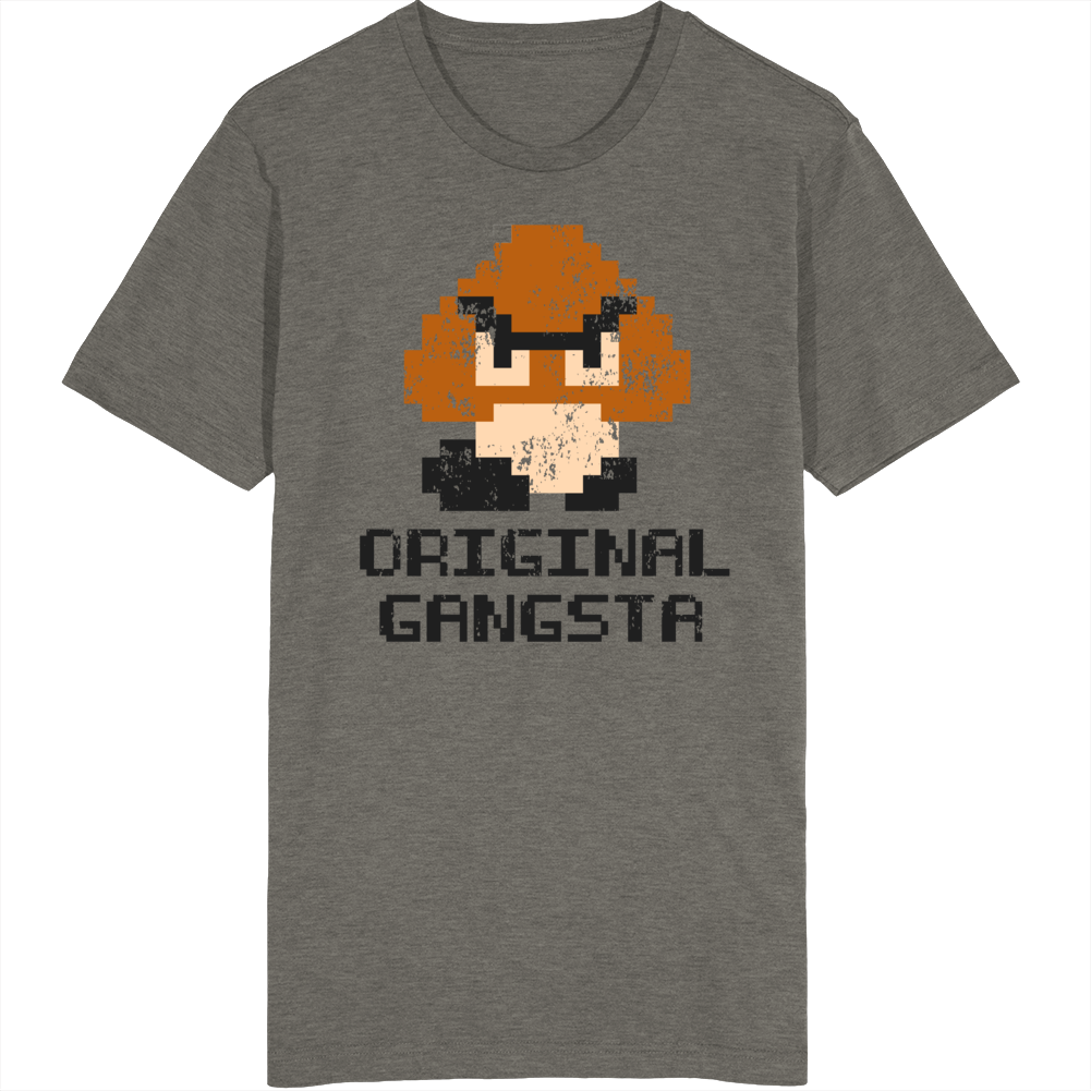 Retro Super Mario Goomba Original Gansta Distressed Video Game Fan T Shirt